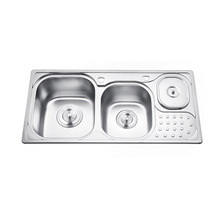 High quality double bowl silver kitchen sink with Waste Bin