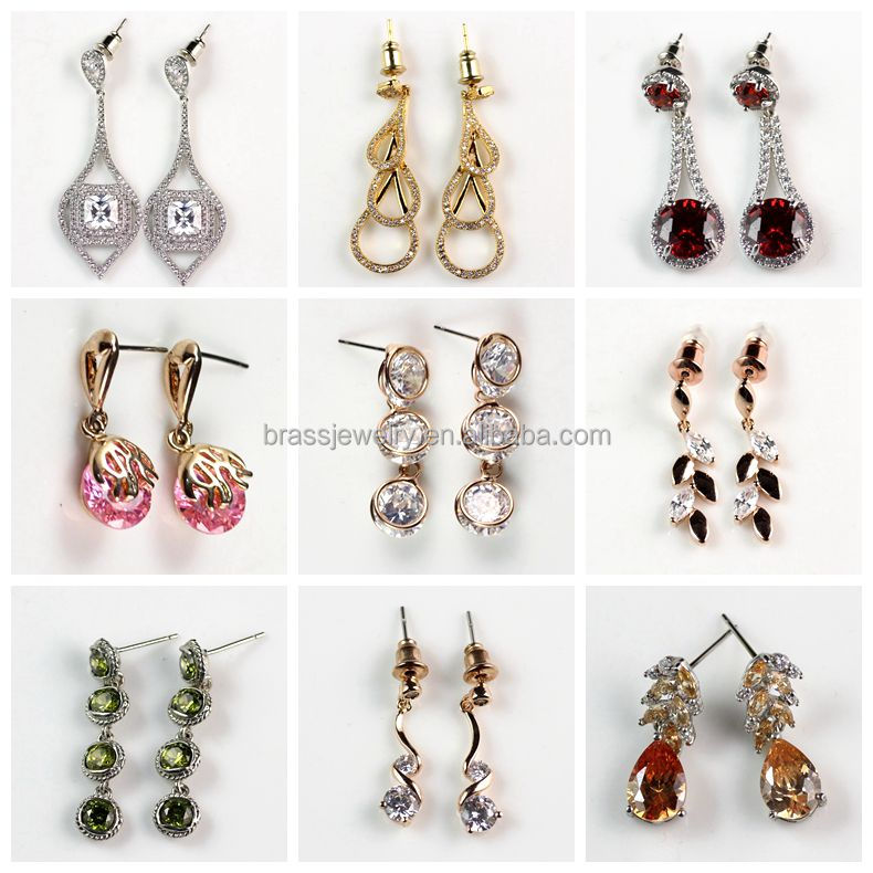 Hot Selling Designs Lady Women Girl's Zircon Diamond Paved Fancy Fashion Design Hanging Earrings Wholesale