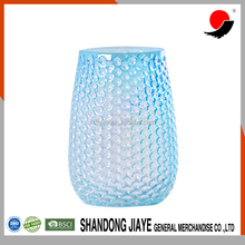 Blue Light Flower Glass Vase with Cell Pattern
