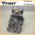 China wholesales High Quality Rabbit Fur Phone Case, hot selling plush case