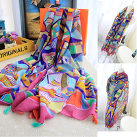 Colorful Tassels Printed Women Lady Daily Holiday Travelling Pashmina Shawl