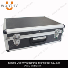 Black Aluminum Carrying Case Suitcase with Document Folder for Tablet Computer