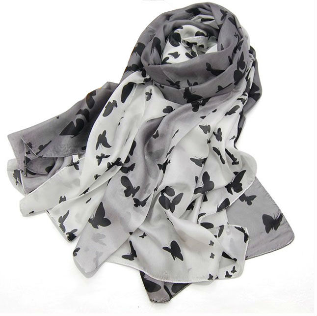 Ombre Gradient Color Scarf in Silk with Butterfly Print