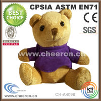 Quality plush & stuffed washable yellow colour teddy bear with clothes