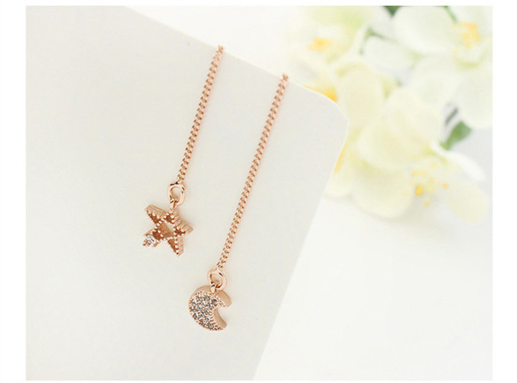 Moon and star design AAA zircon fashion gold plated jewelry asymmetry pearl copper drop earring