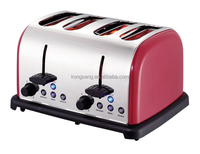 4 Slices Stainless Steel Red Toaster