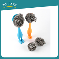 Toprank Hot Sell Kitchen Cleaning Metal Scouring Pad Stainless Steel Spiral Kitchen Metal Pot Scourer With Plastic Handle