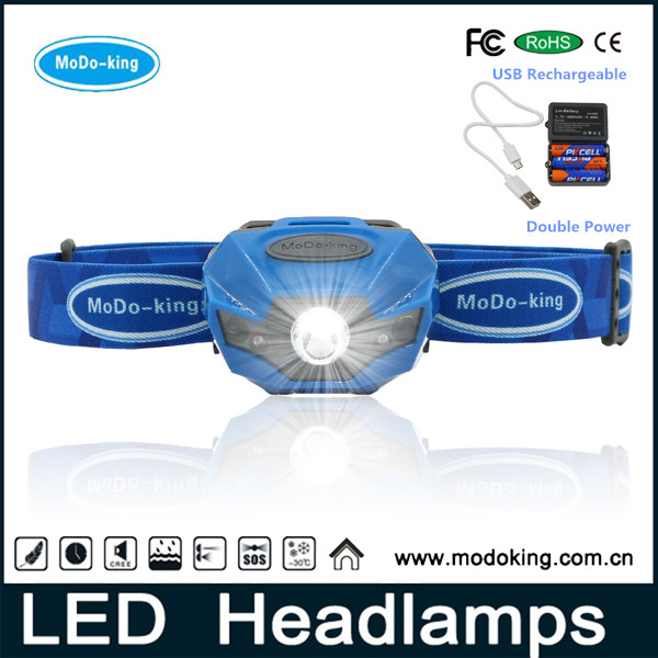 Shenzhen manufacturer camping head light led flashlight lamp rechargeable