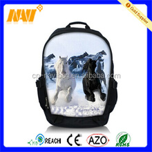 Customized simple sliver grey horse head school backpack