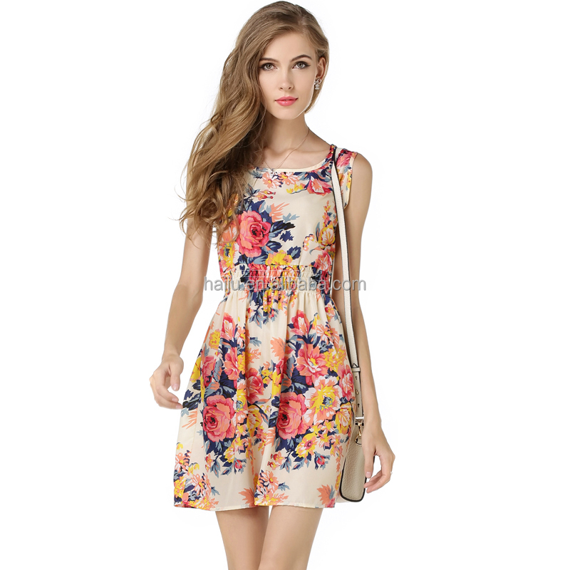 New style summer sleeveless floral printed women lady dress fashion thailand