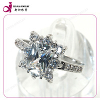 2015 hot sales jewelry plated 925 silver inlay white cubic zirconia smart ring