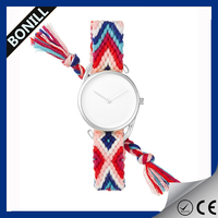 Newest fashion latest lady weave band wrist interchangeable straps,logo design