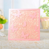Luxury personalized laser cut butterflies wedding invitation card/greeting card