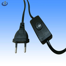 VDE certificated european 2 pin power cord with 303 on off switch for table lamp