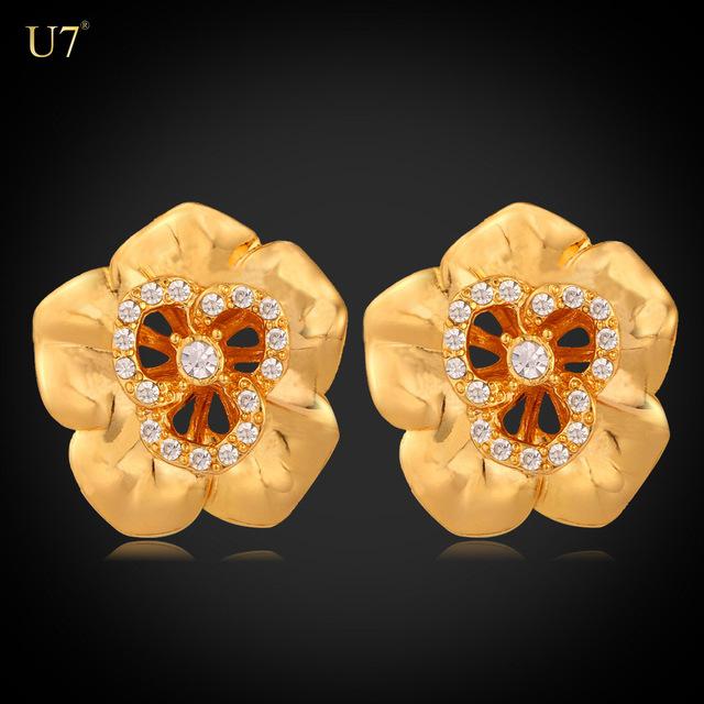 U7 Flower Earrings 18k Gold Plated Retro Jewelry Wholesale Hollow Design Plant Crystal Drop Earrings For Women