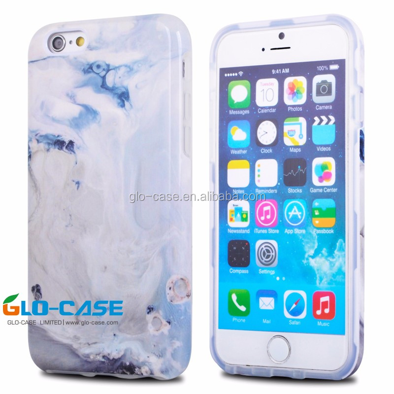 Custom Hybrid PC TPU Case for iPhone 6 Marble Phone Case