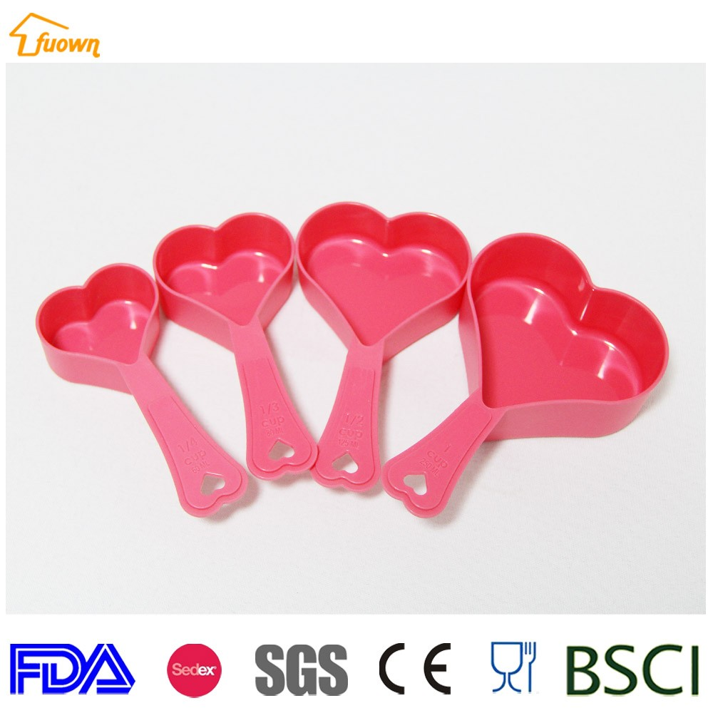4pcs Pink heart measuring tools spoons set plastic sugar scoop