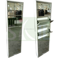 Wood Over The Door Shoe Racks with Glass Door