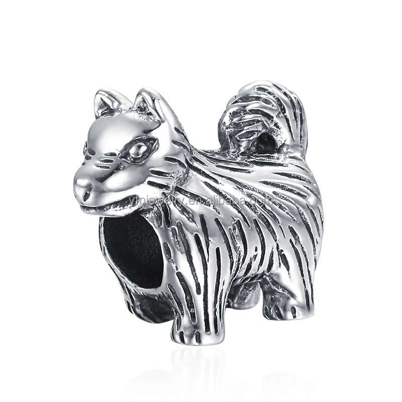 Fashion 925 Silver Unisex Charm Husky Dog Charms Beads From China