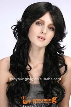 Best quality long black body wavy heat resistant lace front wig