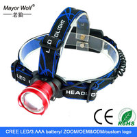 Waterproof outdoor camping 3*AAA battery led headlamp,led head light