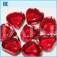 Decorative 35mm red heart shaped glass stones
