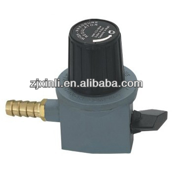 High Quality LPG High Pressure Regulator with Gauge, Zinc Alloy Gas Valve with Child Lock Switch