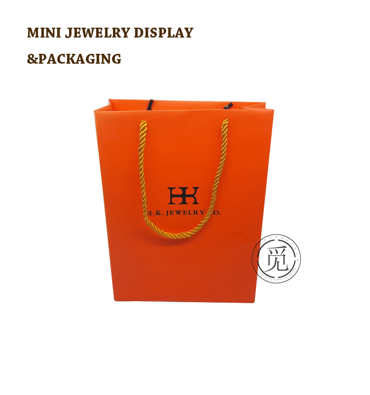 Orange color paper bag handle shopping bag HK brand jewelry gift bag