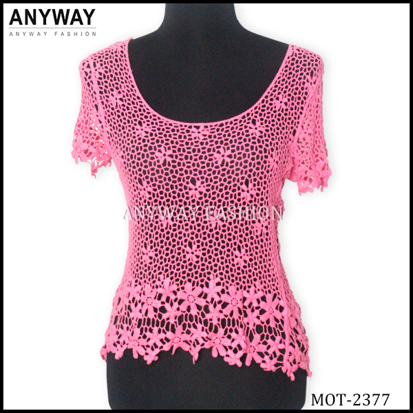 elegant embroidery pink lace women blouses