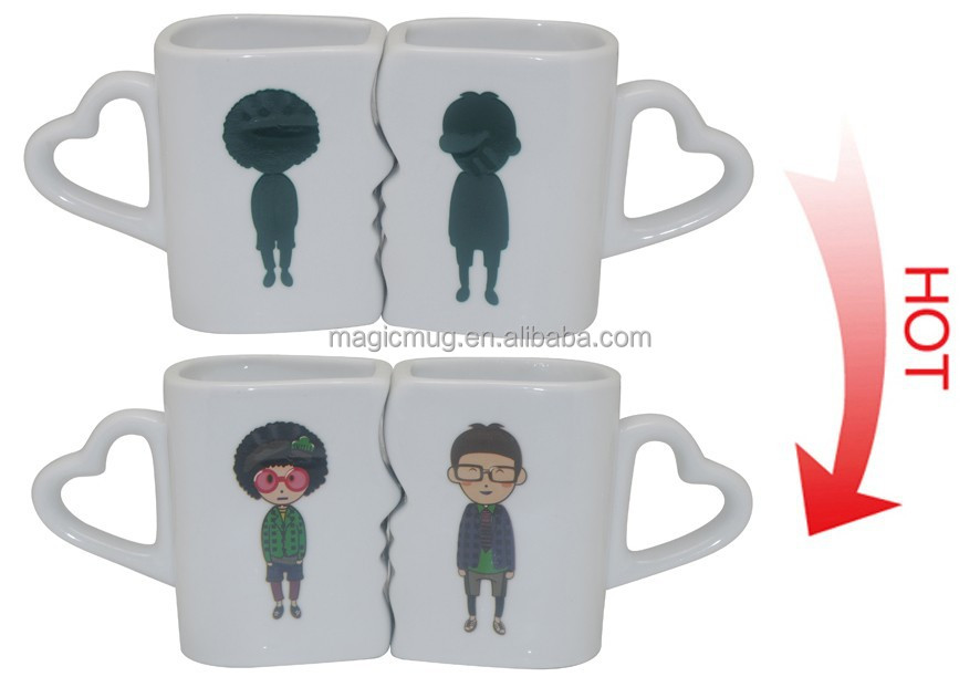 Original Wedding Gifts 11oz Ceramic Couple Kiss Colour Change Coffee Mug With Personalized Design