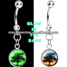 Free Glow in the Dark Sunset Tree Dangle belly button ring bars navel piercing