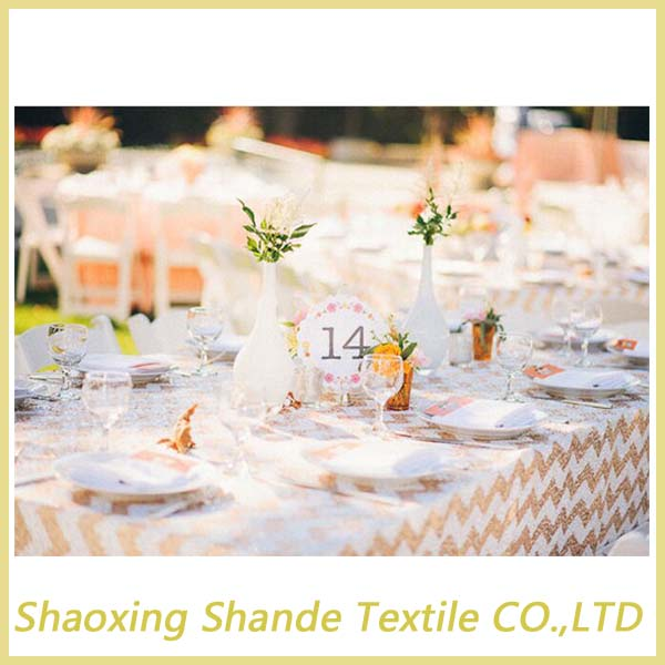 Wholesale champange and white for home/hotel /wedding sequin table cloth