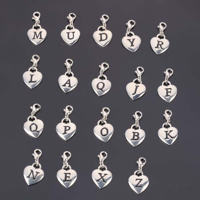 Wholesale different style alloy metal acrylic alphabet letters pendant for decorative