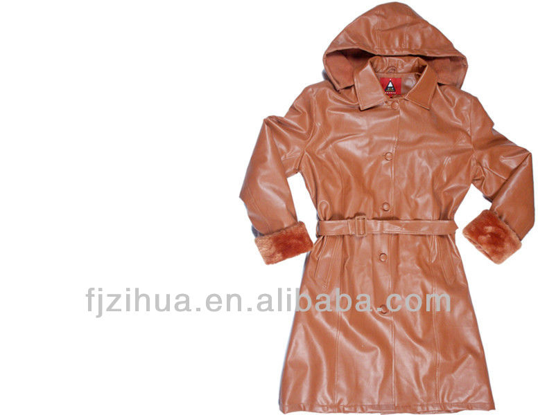 leather jacket Women winter long PU jacket
