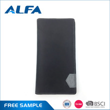 Alfa China Cheap Goods New Design Slim Canvas Lining Genuine Leather Wallets For Men