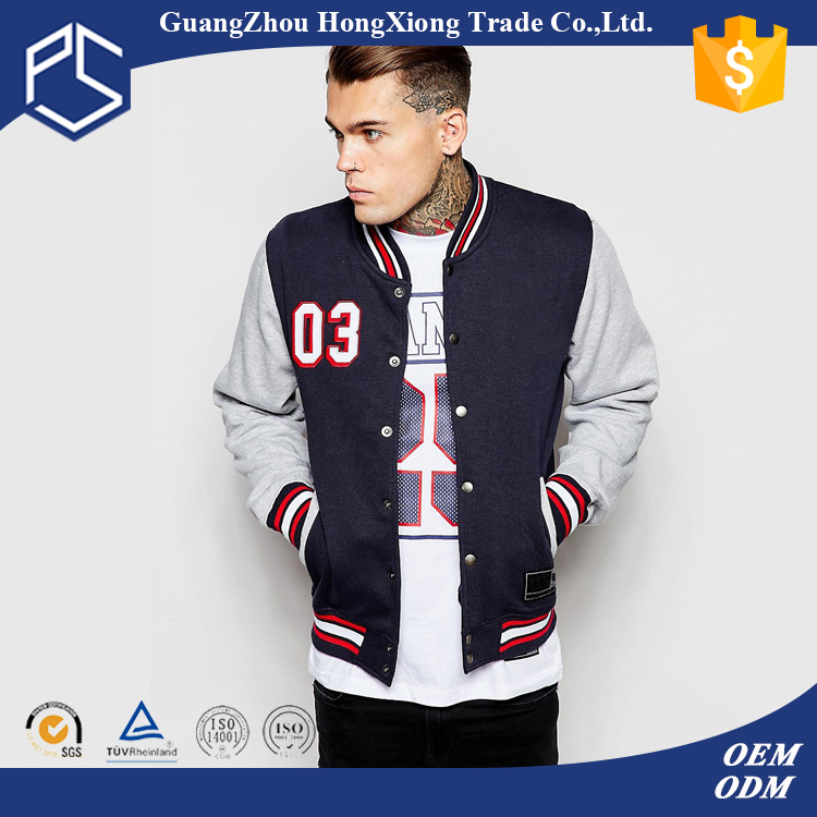 OEM Hot selling Custom Plain Two Pocket Cotton Print Baseball College Jacket