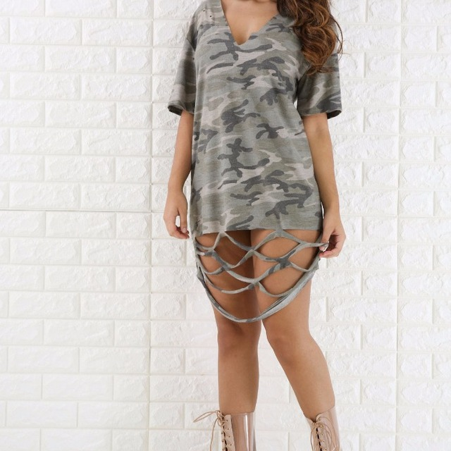 summer new look camouflage printed fashion dress women dresses