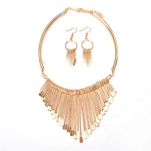 Women Fashion Jewelry Party 14 Gold Silver Plated Multistorey Metal Tassel Statement Necklace Set