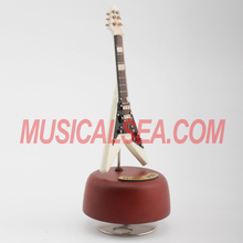 High quality miniature wooden guitar spinning music box