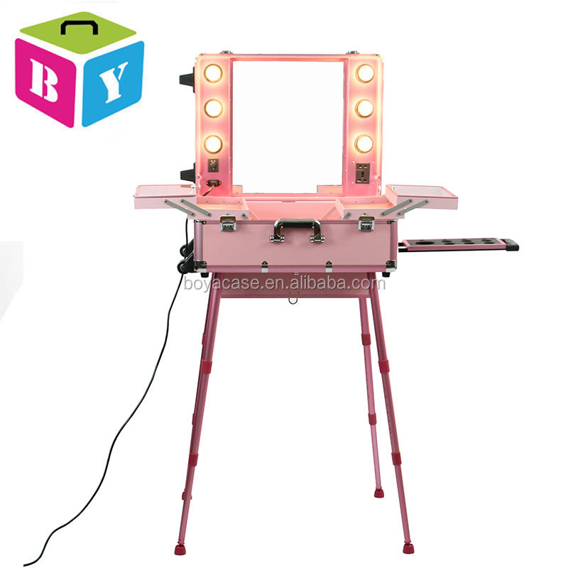 Aluminium pink or black color large trolley lighted beauty makeup cosmetic case with lights mirror bulbs wheels and 4 legs