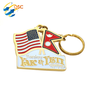 Wholesale Metal Country American and Nepal Flag Keychain