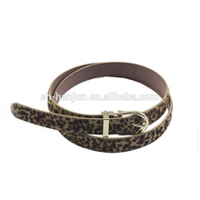 Women PU Leather Fur Animal Print Leopard Calf Black Dress Belt