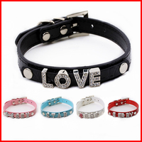 DIY letters with beautiful diamond different words on PU pet dog collar