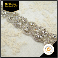 2016 wholesale rhinestone crystal pearl beaded applique ornaments lace trimming rhinestone trimming for wedding dresses NRT027