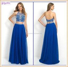 2015 New Unique Design High Round Neckline Babyonline Cheap Elegant Beaded Top Long Two Piece Royal Blue Prom Dresses