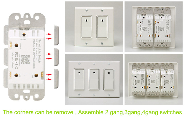 Tuya/Smart Life White Decorator Rocker Wifi Light Switch/Wireless Wifi Smart Wall Switch