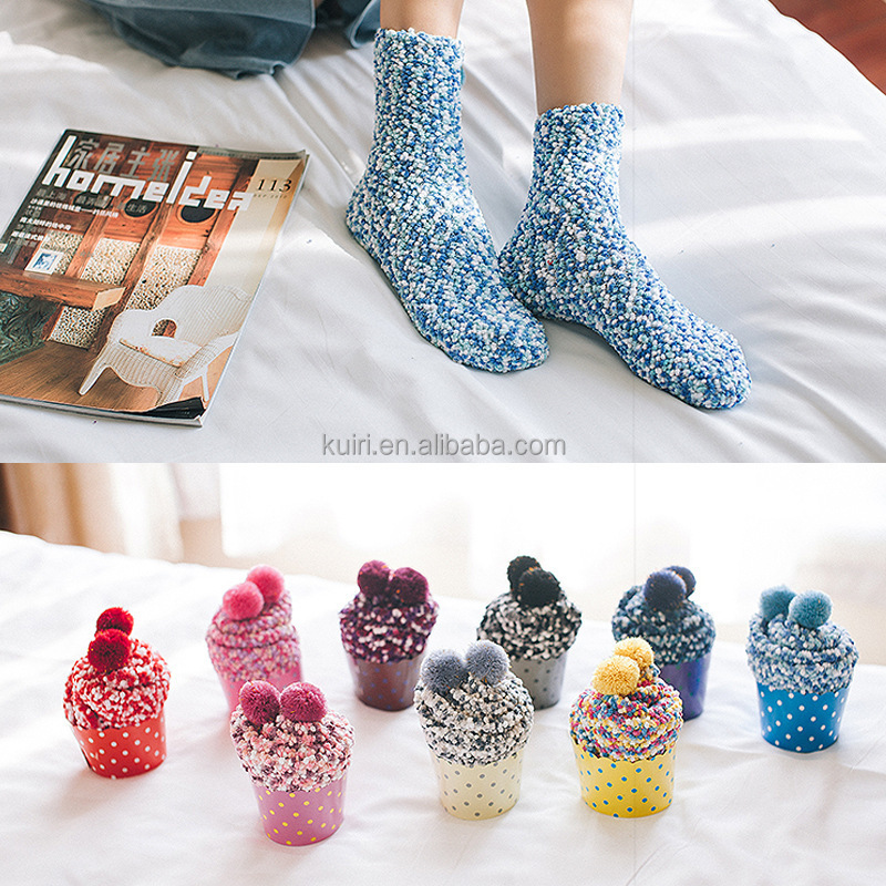 Women Cake Sock Winter Cozy Sleep Tube Socks Indoor Home Fuzzy Socks with pom poms
