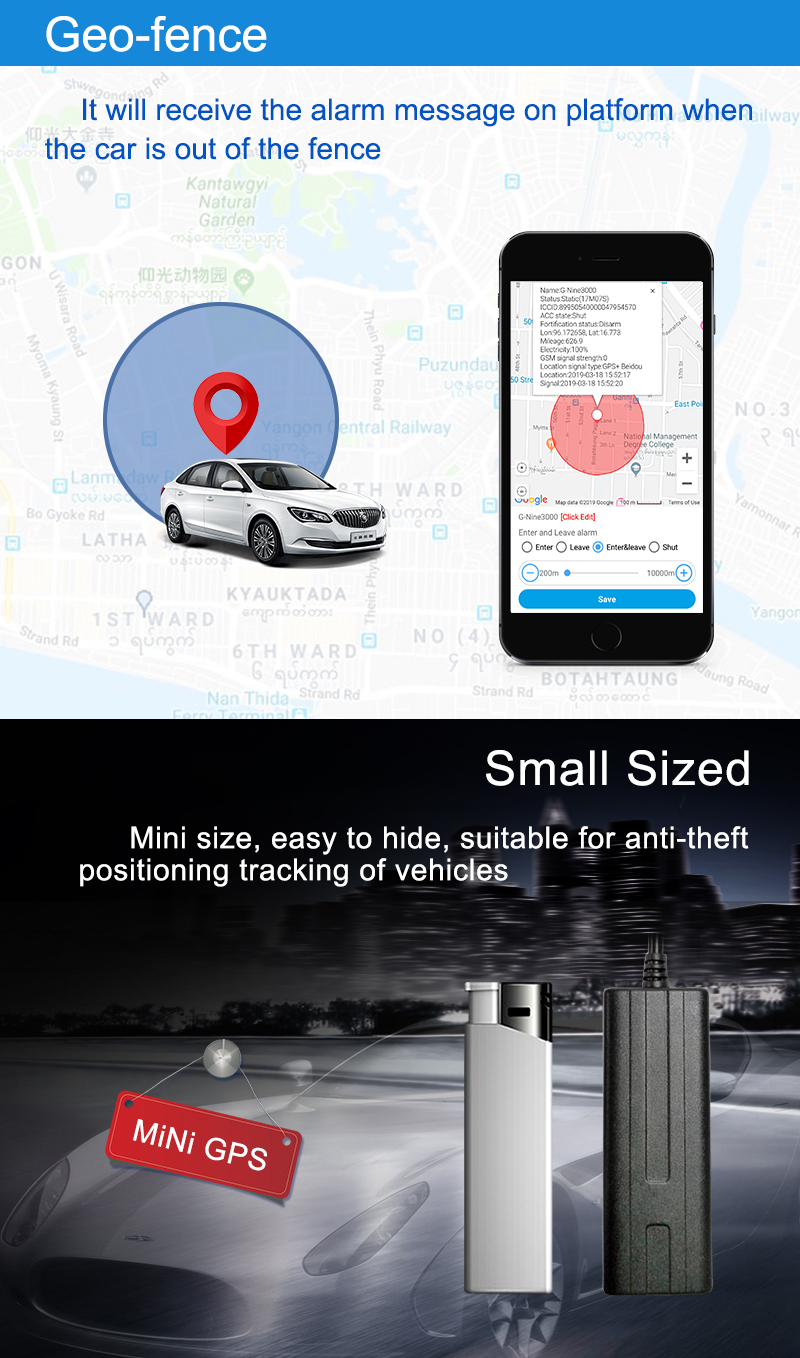 2019 Newest free platform small gps tracker for car GPS GSM GPRS vehicle tracking device SIM card gps tracker