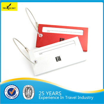 custom cable string travel metal luggage tag