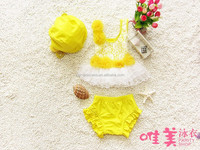 Newest yellow cute girls sexy swimwear for kids